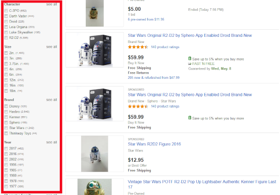 eBay Faceted Navigation