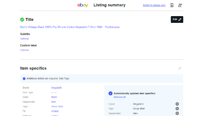 eBay New Unified Listing Tool