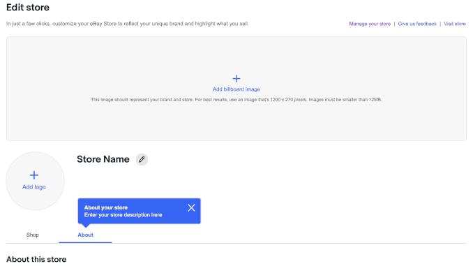 eBay Edit Store Page